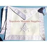 Delux White Master Mason Apron Embroidered White Silky threads