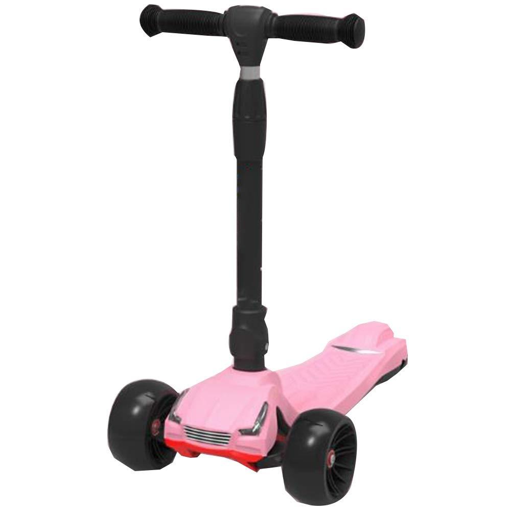 YUMEIGE Kickscooter Tretroller 3 Höhenverstellung Tretroller PU-Laufrad Sportroller für 2-15 jährige Kinder Tretlager 100 Kg Verfügbar Rosa
