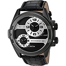 SO&CO New York Men's 'Madison' Quartz Metal and Leather Dress Watch, Color:Black (Model: 5209.1000000000004)