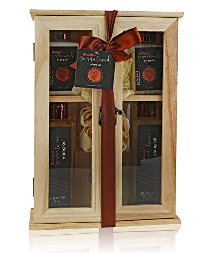 Pinkleaf Sandalwood Ylang Oil with Shea Butter & Vitamin E, Spa Gift Set, In Wooden Cabinet
