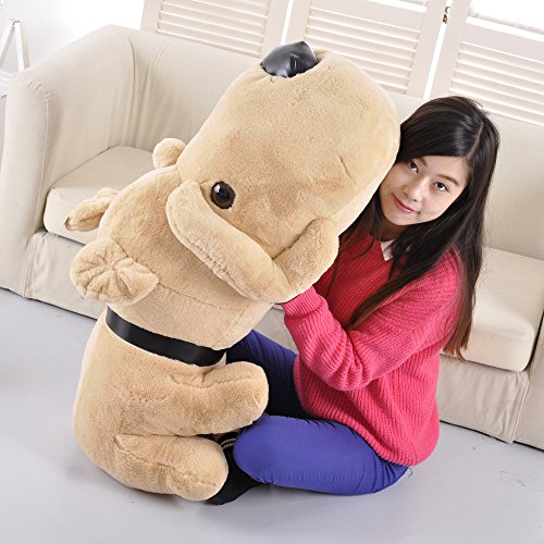 Roner Large Stuffed Puppy Dog Stuffed Animal Plush Dog Pillow Big Plush Toy for Girls Kids Brown 35 Inches