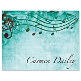 Sheet Music Aqua Personalized Note Card Set - Set of 24 cards with envelopes, 4-1/4'' x 5-1/2'' blank inside, Add a Name, Music Teacher Gift, Musician Gift, Thank You Card