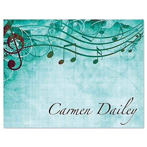 Sheet Music Aqua Personalized Note Card Set - Set of 24 cards with envelopes, 4-1/4