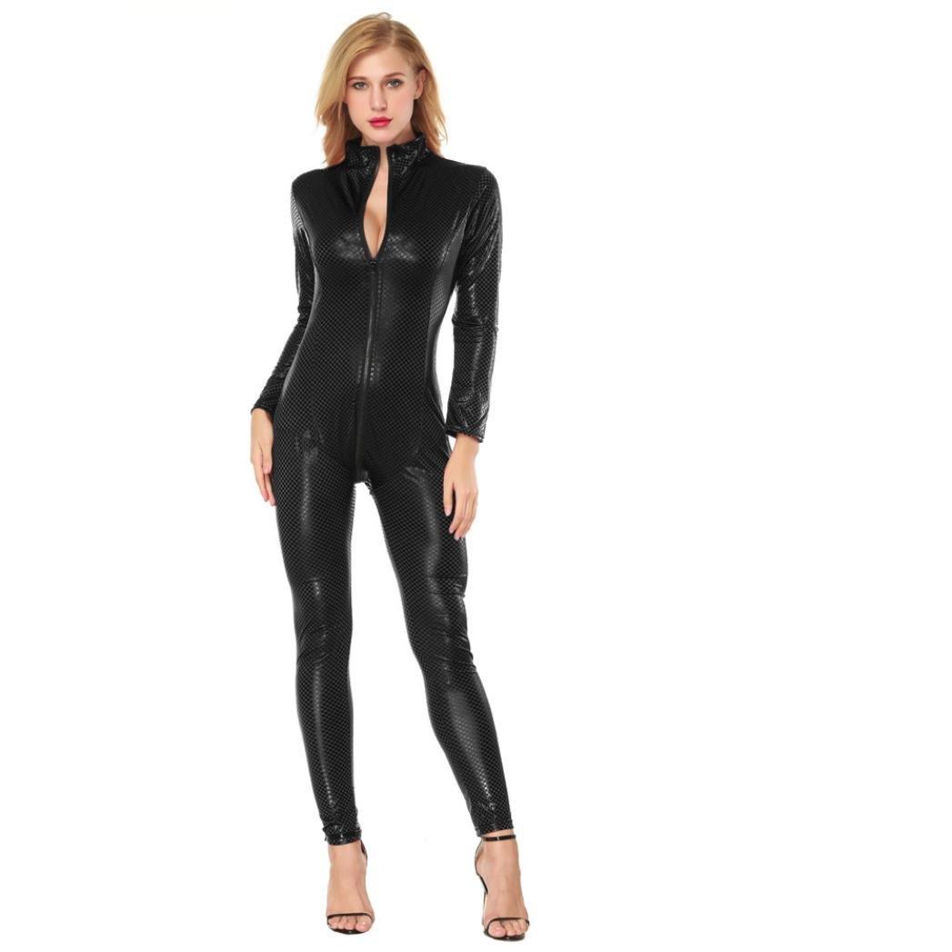 f50a81579e Amazon.com  Makaor Women Long Sleeve Artificial Leather Bodysuit Sexy  Zipper Open Crotch Lingerie Set (Black