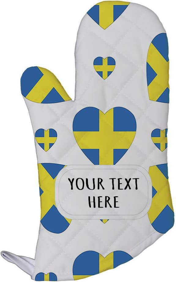 Style In Print Polyester Oven Mitt Custom Sweden Country Flag Hearts Pattern Adults Kitchen Mittens