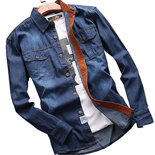 Price comparison product image NeeKer Jacket 2018 Spring Men's Casual Denim Long Sleeve Shirt 100% Cotton Sweat-Busting Men's Shirt Dark Blue XXL