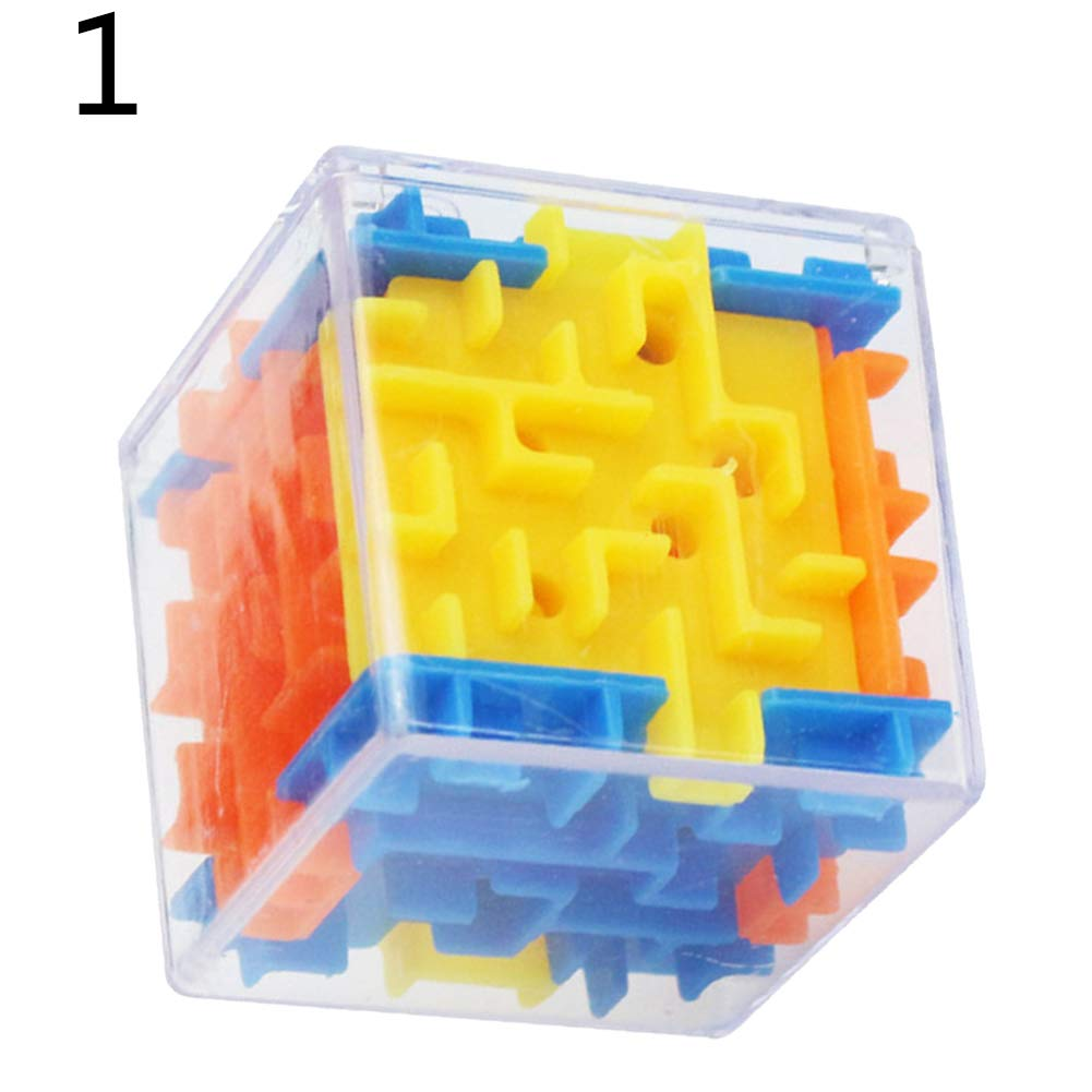lightclub 3D Cube Puzzle Maze Toy Hand Game Case Box Brain Teaser Kids Educational Gift Novelty Funny Brain Training Toy Random Color# 1#