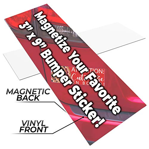 Blank Decal Sheets - Fun, Make-Your-Own 3x9in Magnetic Sheets 1pk. Blank White Magnet Strips for Strong, Flexible Bumper Sticker Decals, Holiday Photos or Art. Decorate Personalized DIY Projects for Fridge, Car or Office