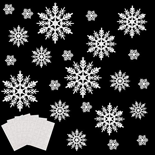 Plastic Snowflakes Bulk (WXJ13 80 Pieces White Plastic Snowflakes Ornaments for Christmas Decoration, 5 Sizes, 1, 2, 3, 4, 6)