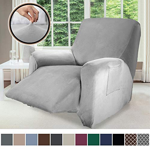 Gorilla Grip Original Fitted Velvet 1 Piece Small Recliner Protector for Seat Width to 28 Inch, Stretchy Furniture Slipcover, Fastener Straps, Spandex Reclining Chair Cover Throw for Pets, Gray
