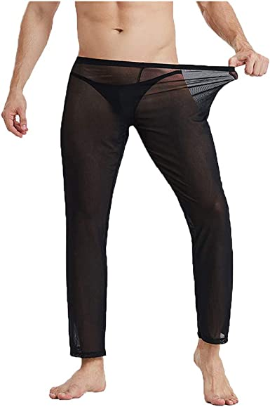 Mens Mesh See-through Long Pants Loose Bottom Sports Yoga Trousers Underwear XL