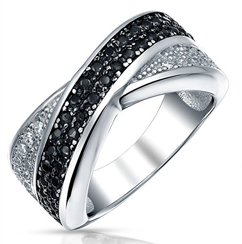 s Band Ring For Women Two Tone Black and White Pave Cubic Zirconia CZ 925 Silver ()