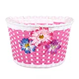(Pink)Flowery Bike Front Basket Bicycle Shopping Stabilizer for Children Girls