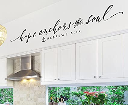 Amazon.com: Hope Anchors the Soul Christian Wall Decal Inspirational ...
