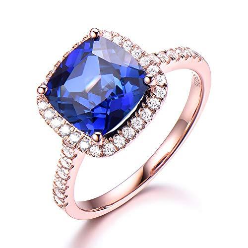 (Solid 14k Rose Gold Cushion Cut Lab Created Blue Sapphire Engagement Ring CZ Diamond Halo Wedding Jewelry)