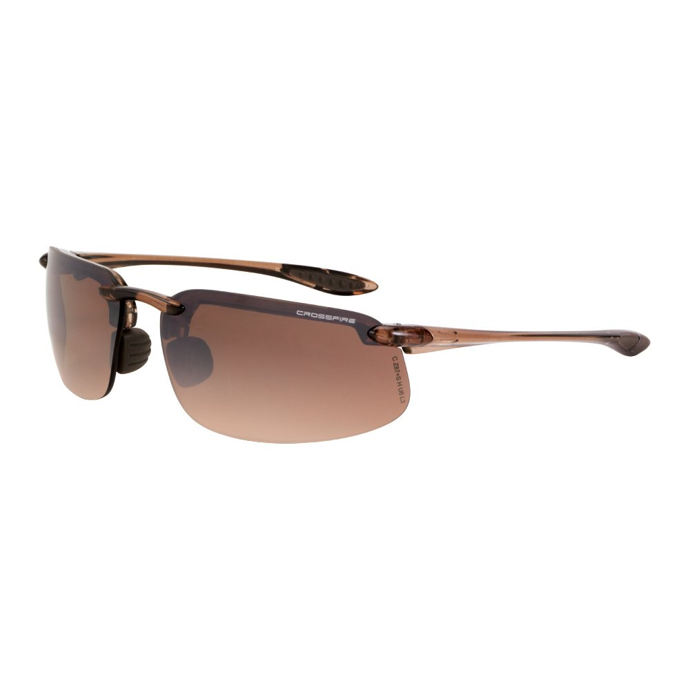 Crossfire Brown Safety Glasses, Scratch-Resistant, Frameless