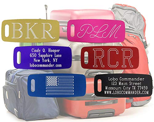 Custom Aluminum Luggage Tag - Personalized & Engraved to Your Specifications - Up to 5 Lines of Text on Both the Front & Back - Great Gift for Adults & Kids Who Travel