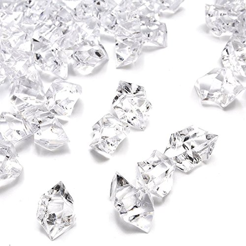 (DomeStar Fake Crystals, 150PCS(2.5Cups) Acrylic Treasure Gems Clear Ice Rocks Plastic Diamonds Vase Rocks Centerpiece for Vase Fillers Party Table Scatter Wedding Display)