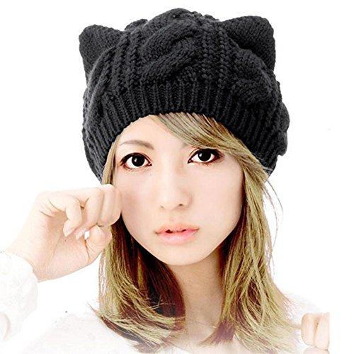Usstore Women's Lady Winter Warm Cat Ears Hemp Knitted Berret Hat (Sequined Straw)
