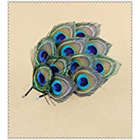 (light blue) - Natural Peacock Feather Fascinator Wedding Hair Clip (blue with brown)