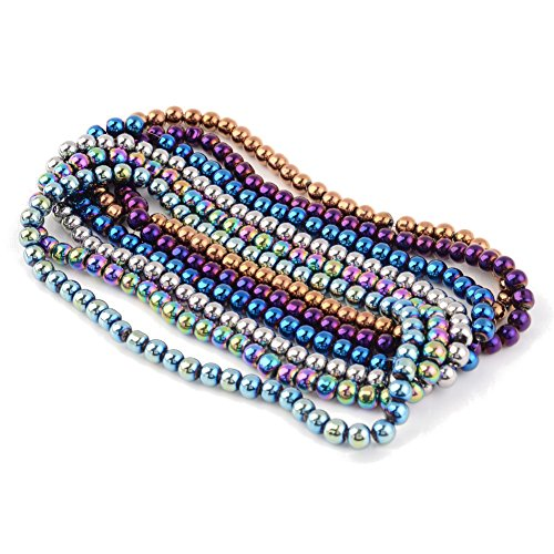 Pandahall 20Strands 55pcs/Strand Carnival Celebrations Jewelry Beads Mardi Gras Beads Electroplate Glass Bead Strands Round Mixed Color 6mm 14.1