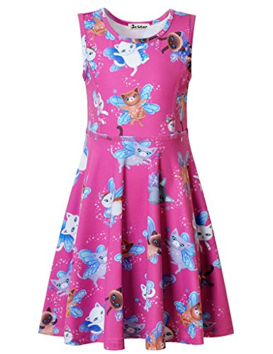 Jxstar Little Girls Dress Animal Print For Skater Cartoon Cat Elves Pattern Sleeveless Dress Cat Elves 120