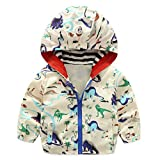 lymanchi Kids Baby Boy Casual Windbreaker Outerwear Dinosaur Printed Zipper Hooded Jackets Coat Beige Dinosaur 12M