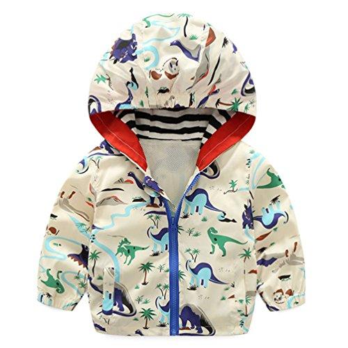 lymanchi Kids Baby Boy Casual Windbreaker Outerwear Dinosaur Printed Zipper Hooded Jackets Coat Beige Dinosaur ()