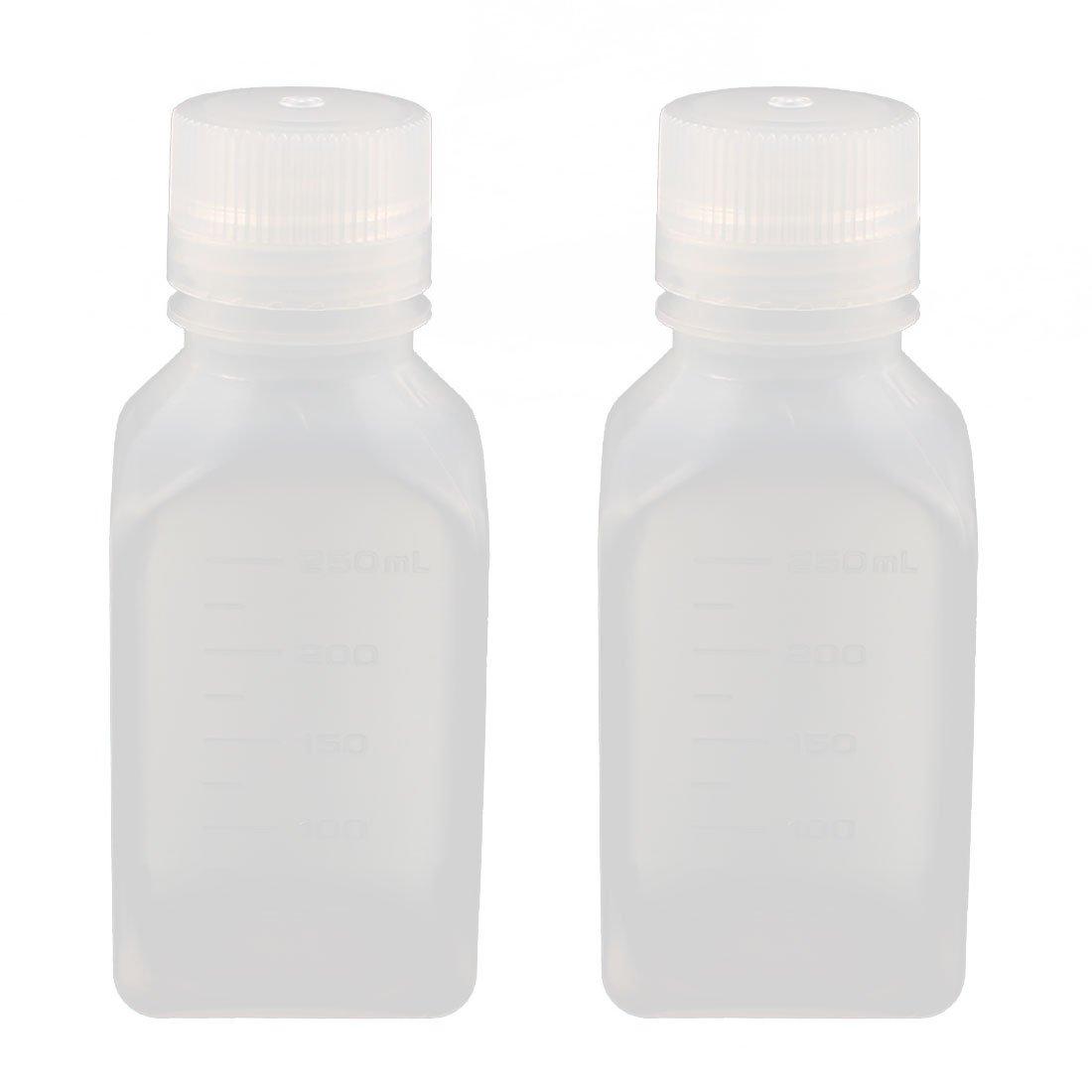 sourcingmap® 2Pcs 250ml PP Square Wide Mouth Seal Reagent Bottle Chemical Sample Bottle US-SA-AJD-174536