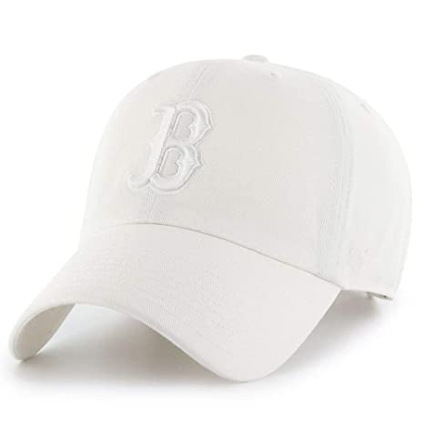 Image Unavailable. Image not available for. Color   47 Boston Red Sox Hat  MLB Authentic Brand Clean Up Adjustable Strapback White ... 25e6f91e3342