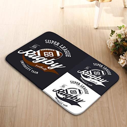 (zexuandiy Non-Slip Doormat Non-Woven Fabric Floor Mat Indoor Entrance Rug Decor Mat 23.6(L) x 15.7(W) Oval Rugby Ball Super League Banner University Player)