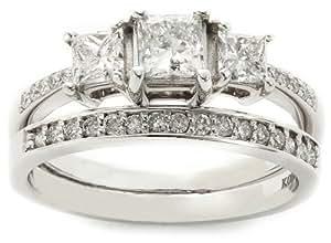 Kobelli 1 1/6 cttw Three Stone Princess Diamond Wedding Ring Set, Size 7