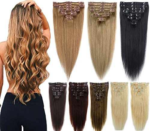 3-5 Days Delivery 100% Real Remy Clip in Hair Extensions 16-22inch Grade AAAAA Natural Hair Full Head Standard Weft 8 Pieces 18 Clips Long Smooth Soft Silky Straight for Women (Costumes Express Delivery)
