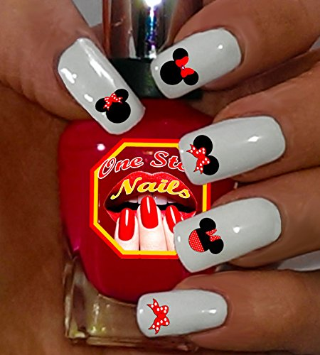 Disney Minnie Mouse Bow Nail Art Decals. Tattoo Nail Decal Set of MB001-74 by One Stop -