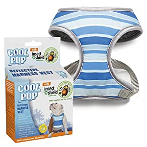 Cool Pup with Insect Shield Striped Reflective Harness Vest