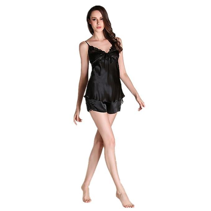Missley Moda Mujer Sling Pantalones Cortos Conjunto de dos piezas de pijamas de seda Pijamas de