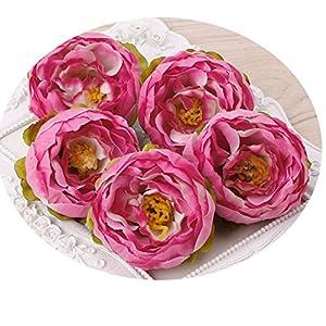 5Pcs Silk Flower Artificial Flower Head Artificial Flower Wedding Decoration Wreaths Wedding Car Decoration Spring Decoration 01