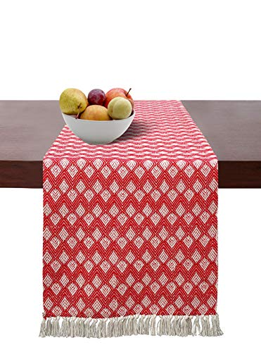 Cotton Clinic Table Runner Farmhouse 72 Inch Diamond Weave, Rustic Bridal Shower Decor Dining Table Runner, 14x72 Wedding Table Runner Fringes, Red White
