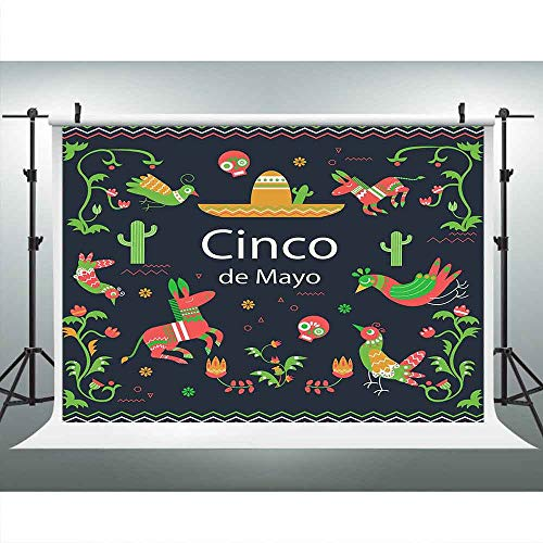 LUCKSTY Mexico Independence May 5 Backdrops for Photography 9x6FT Cinco de Mayo Black Tradition Photo Backgrounds Wall Paper Photo Booth Studio Props LUP622 ()