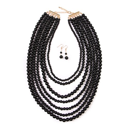 MYS Collection Women's Popular Layered Bubble Statement Necklace Set - Colorful Bead Multi Strand Necklace (Black)