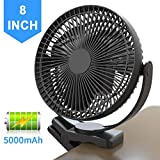 8 Inch Battery Operated Clip on Fan with Strong Clamp, 5000mAh & 4 Speeds & 10W Fast Charging, Portable Cooling USB Fan for Baby Stroller Golf Cart Car Gym Treadmill, 2 in 1 Desk & Clip Fan-Black
