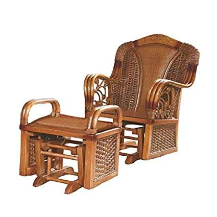 Sungao Natural Bamboo  Rattan Wicker Chaise Lounge Chair Setlonguer  Reclinerreclining
