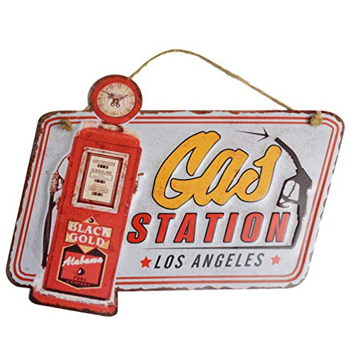 PEI's Retro Vintage Embossed Gas Station Metal Tin Sign, Wall Hanging Decor for Home, Garage, Man Cave, 13x10 inch / 34x25cm