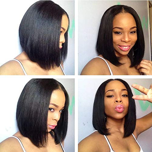 URALL Hair 13x4 Pre Plucked Lace Front wigs human hair Brazilian Straight Hair Short Bob Wigs For Black Women Bleached Knots(10inch)