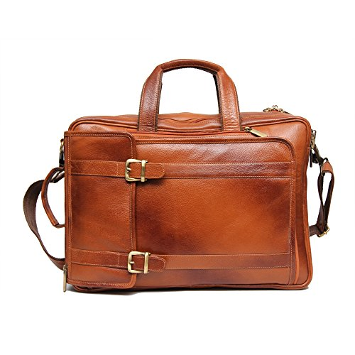 C Comfort 15 inch Pure Leather Laptop Backpack Bag for Man and woman EL96 Color Tan
