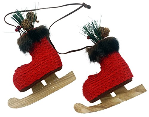Woodsy Knitted Ice Skates Hanging Christmas Ornament (Red) Woodsy Christmas
