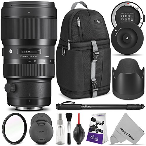 Sigma 50-100mm F1.8 Art DC HSM Lens for NIKON DSLR Cameras w/Sigma USB Dock & Advanced Photo and Travel Bundle
