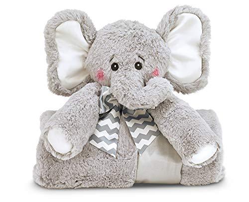 (Bearington Baby Lil' Spout Cuddle Me Sleeper, Gray Elephant Large Size Security Blanket, 28.5