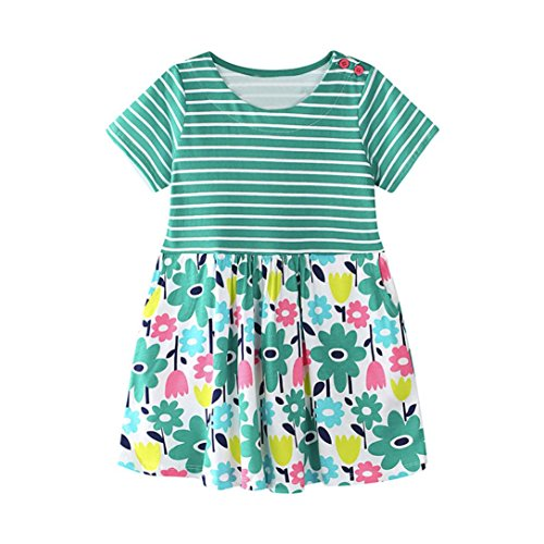 Alalaso Baby Kid Girl Floral Pattern Dress Sundress Outfit Clothes (90, Green) by Alalaso