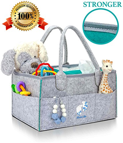 Premium Diaper Caddy Organizer | Strong Portable Nursery Storage Bin for Baby Essentials, Wipes, Toys | Kids Car Organizer | Baby Shower Gift for Girl,Boy | Newborn Registry Must Have by Bluebell Bebe by Bluebell Bebe